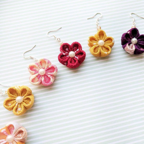 Japanese Kanzashi Plum Blossom Earrings for Kimono