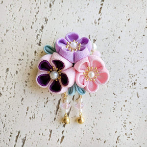 Japanese Kanzashi Spring Garden Blossoms Hair Clip for Kimono - Pastel Purple