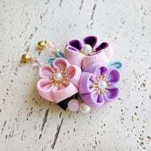 Japanese Kanzashi Spring Garden Blossoms Hair Clip for Kimono - Side