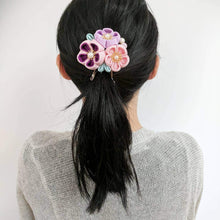 Japanese Kanzashi Spring Garden Blossoms Hair Clip for Kimono with model