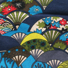 Japanese Knot Bag Fans Blue Pattern