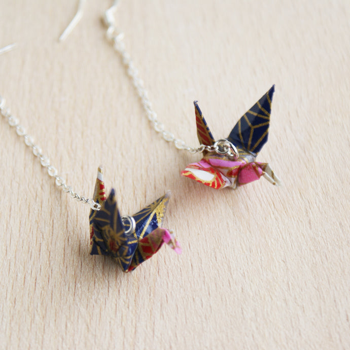 Japanese Origami Paper Crane Sterling Silver Earrings - Navy Red