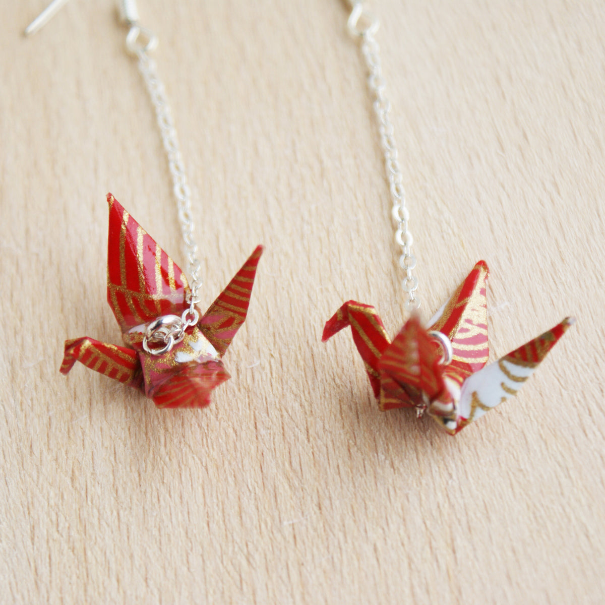 Japanese Origami Paper Crane Sterling Silver Earrings - Red Gold
