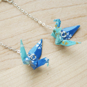 Japanese Origami Paper Crane Sterling Silver Earrings - Sakura Blue