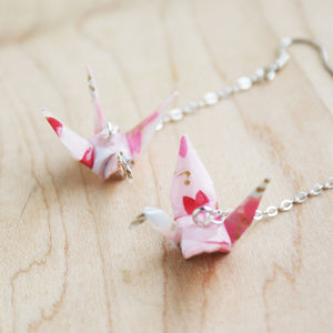 Japanese Origami Paper Crane Sterling Silver Earrings - Sakura Pink