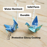 Japanese Origami Paper Crane Sterling Silver Earrings
