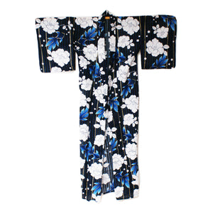 Japanese Yukata Camellia and Goldfish Navy Full