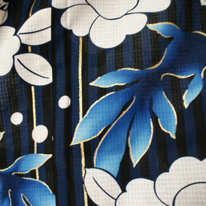 Japanese Yukata Camellia and Goldfish Navy Pattern