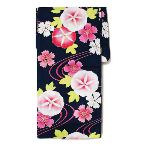 Japanese Yukata Morning Glory and Cherry Blossom Navy