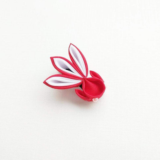 Kanzashi Gold Fish Hair Clip for Japanese Kimono - Red