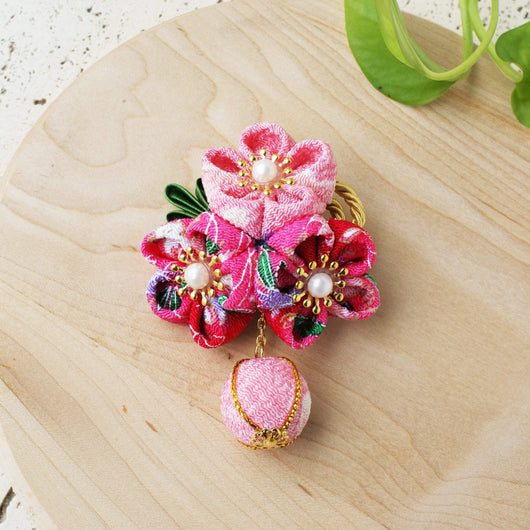 Kanzashi Plum Blossoms Ball Pendant Hair Clip for Japanese Kimono
