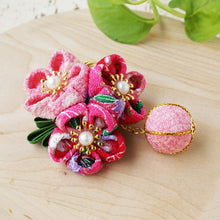 Kanzashi Plum Blossoms Ball Pendant Hair Clip for Japanese Kimono Closeup