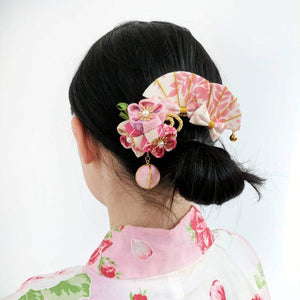 Kanzashi Plum Blossoms Ball Pendant Hair Clip for Japanese Kimono with model