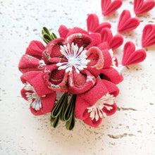 Kanzashi Plum Blossoms Bouquet Hair Clip for Japanese Kimono - Closeup