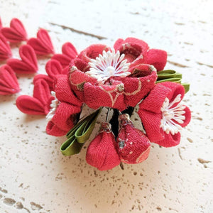 Kanzashi Plum Blossoms Bouquet Hair Clip for Japanese Kimono - Side