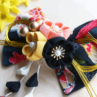 Kanzashi Plum Blossoms Dangle Hair Bow for Japanese Kimono - Closeup