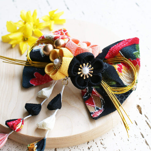 Kanzashi Plum Blossoms Dangle Hair Bow for Japanese Kimono