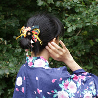 Kanzashi Plum Blossoms Dangle Hair Bow for Japanese Kimono with Model
