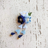 Kanzashi Plum Blossoms Dangle Hair Clip for Japanese Kimono - Blue