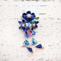 Plum Blossoms Dangle Hair Clip - Blue Patterned ( Discontinued )
