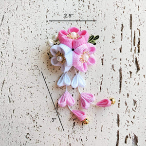 Kanzashi Plum Blossoms Dangle Hair Clip for Japanese Kimono - Dimensions