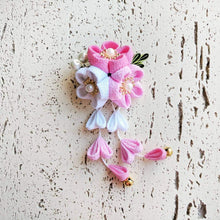 Kanzashi Plum Blossoms Dangle Hair Clip for Japanese Kimono - Pink