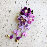 Kanzashi Plum Blossoms Dangle Hair Clip for Japanese Kimono - Purple