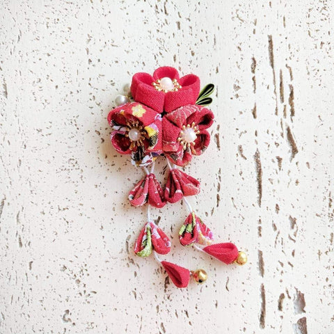 Plum Blossoms Dangle Hair Clip - Red Patterned