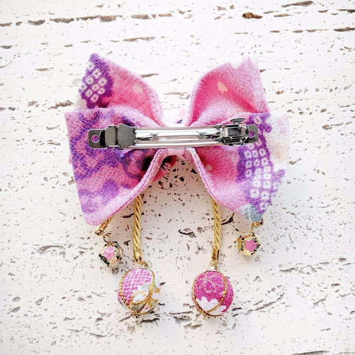 Kanzashi Plum Blossoms Hair Bow for Japanese Kimono - Back