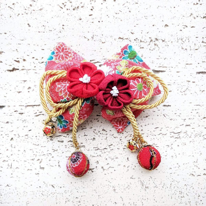 Kanzashi Plum Blossoms Hair Bow for Japanese Kimono - Red