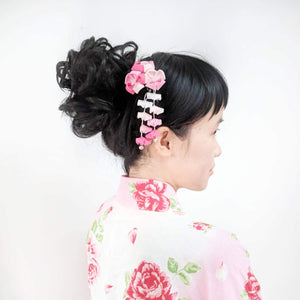 Kanzashi Plum Blossoms Two Leg Hair Stick for Japanese Kimono with model