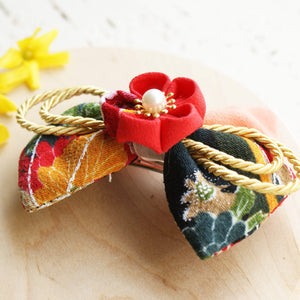 Kanzashi Plum Blossoms and Gold Bell Bow for Japanese Kimono - Side