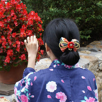 Kanzashi Plum Blossoms and Gold Bell Bow for Japanese Kimono with model