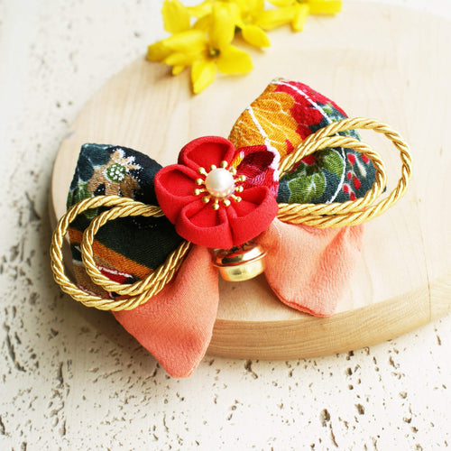 Kanzashi Plum Blossoms and Gold Bell Bow for Japanese Kimono