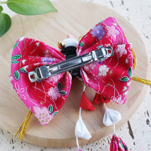 Kanzashi Plum Blossoms and Moon Bunny Hair Bow for Japanese Kimono