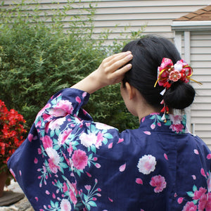 Plum Blossoms and Moon Bunny Hair Bow