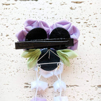 Kanzashi Purple Narcissus Flowers Dangle Hair Clip for Japanese Kimono - Back