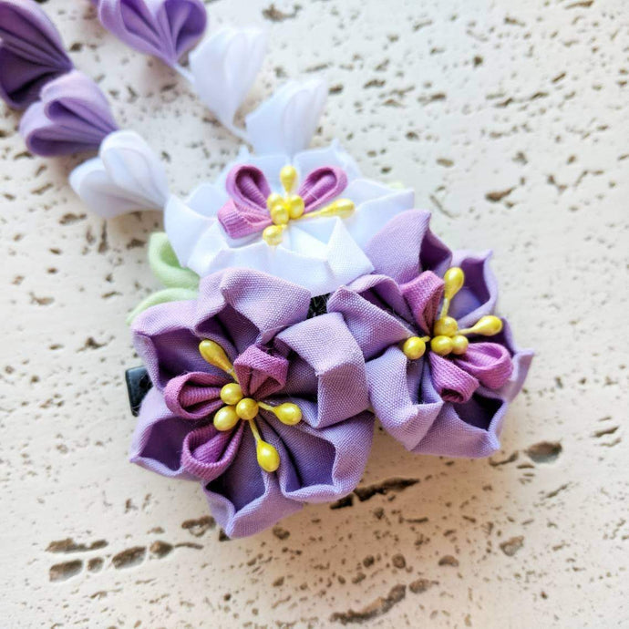 Kanzashi Purple Narcissus Flowers Dangle Hair Clip for Japanese Kimono - Closeup