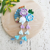 Kanzashi Rabbit, Fan, and Cherry Blossoms Dangle Hair Clip for Japanese Kimono - Blue