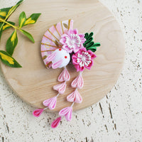 Kanzashi Rabbit, Fan, and Cherry Blossoms Dangle Hair Clip for Japanese Kimono - Pink