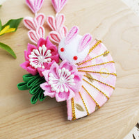 Kanzashi Rabbit, Fan, and Cherry Blossoms Dangle Hair Clip for Japanese Kimono - Side