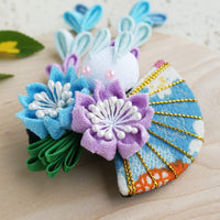 Kanzashi Rabbit, Fan, and Cherry Blossoms Dangle Hair Clip for Japanese Kimono - Blue Side