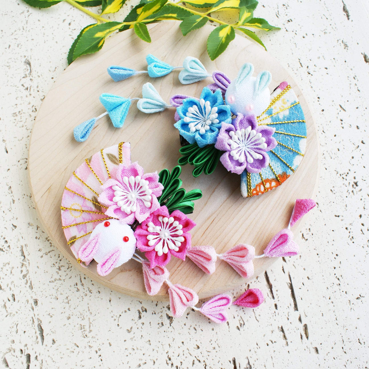 Kanzashi Rabbit, Fan, and Cherry Blossoms Dangle Hair Clip for Japanese Kimono