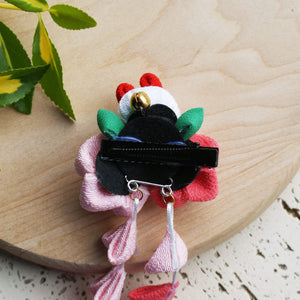Kanzashi Rabbit and Plum Blossoms Dangle Hair Clip for Japanese Kimono - Back