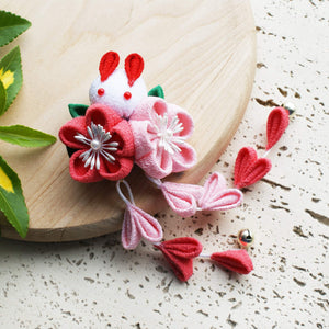 Kanzashi Rabbit and Plum Blossoms Dangle Hair Clip for Japanese Kimono - Pink