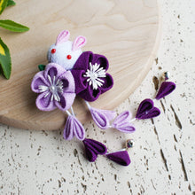Kanzashi Rabbit and Plum Blossoms Dangle Hair Clip for Japanese Kimono - Purple