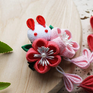 Kanzashi Rabbit and Plum Blossoms Dangle Hair Clip for Japanese Kimono - Side
