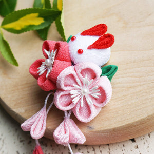 Kanzashi Rabbit and Plum Blossoms Dangle Hair Clip for Japanese Kimono - Side 2