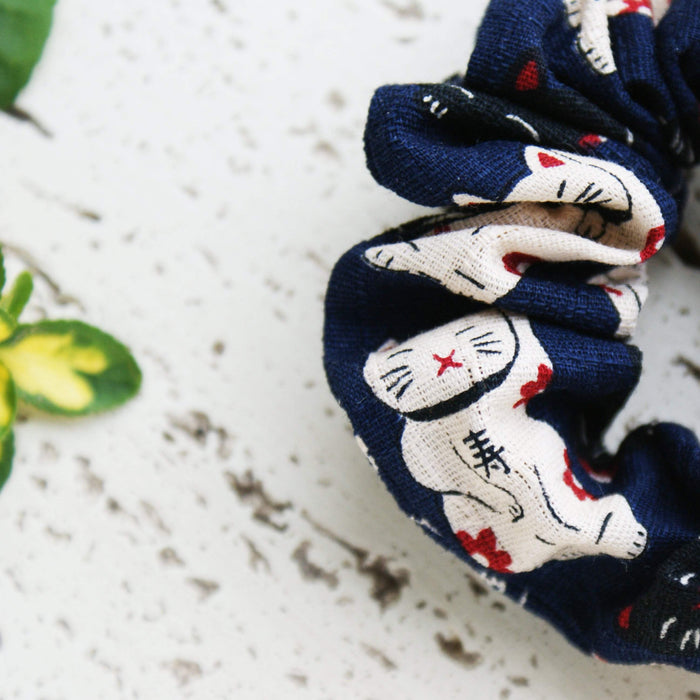 Kimono Fabric Scrunchie Maneki Neko in Navy Closeup