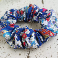 Kimono Fabric Scrunchie Plum Blossoms in Blue Gold Multi - Closeup